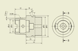 Technical drawing of a machine tool